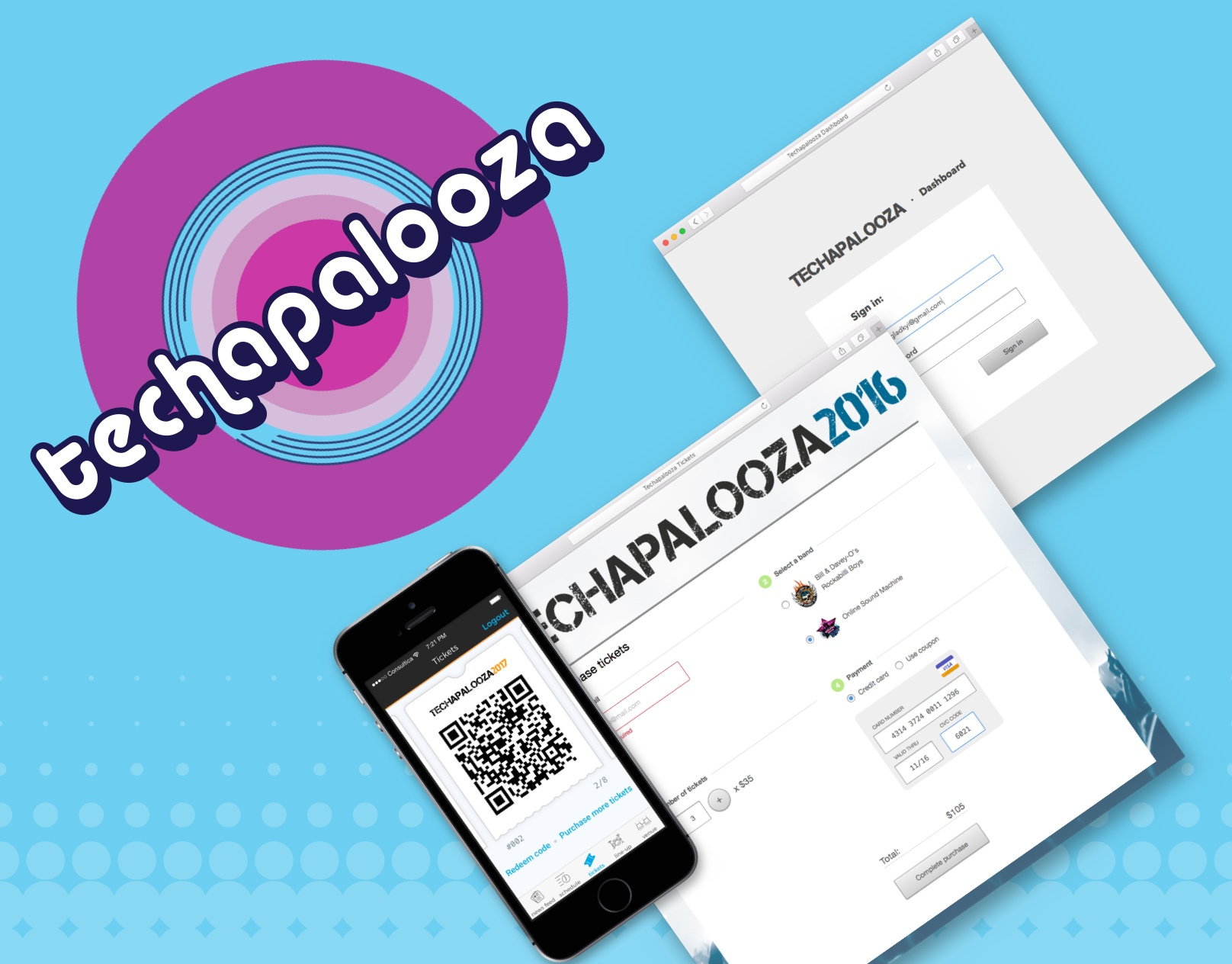 Mobile apps, dashboard and tickets page for Techapalooza